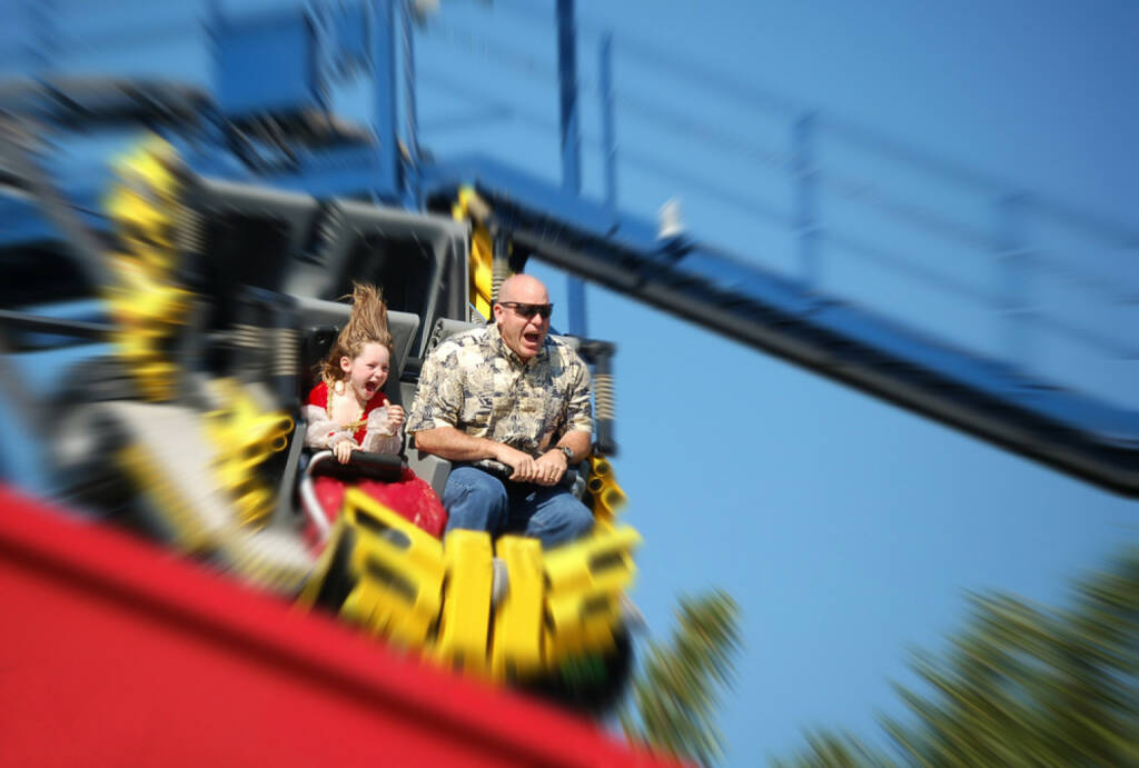 Achterbahn, fahren, Angst, Schrecken, Schrei, Freude, Spass, auf und ab, http://www.shutterstock.com/de/pic-9806476/stock-photo-father-and-daughter-having-fun-on-rollercoaster.html , © (www.shutterstock.com) (11.07.2014)