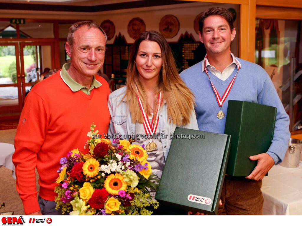 Anton Schutti (Sporthilfe), Verena Horn und Mark Zyla. Photo: GEPA pictures/ Christian Walgram (12.07.2014)