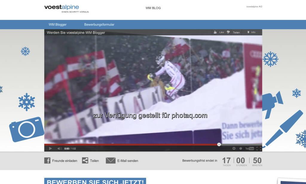 voestalpine und Eurosport suchen zwei skibegeisterte WM Blogger - wer will zwei Wochen lang direkt von der FIS Alpine Ski-WM 2013 Schladming official site berichten? http://bit.ly/VKJSRo (11.01.2013)