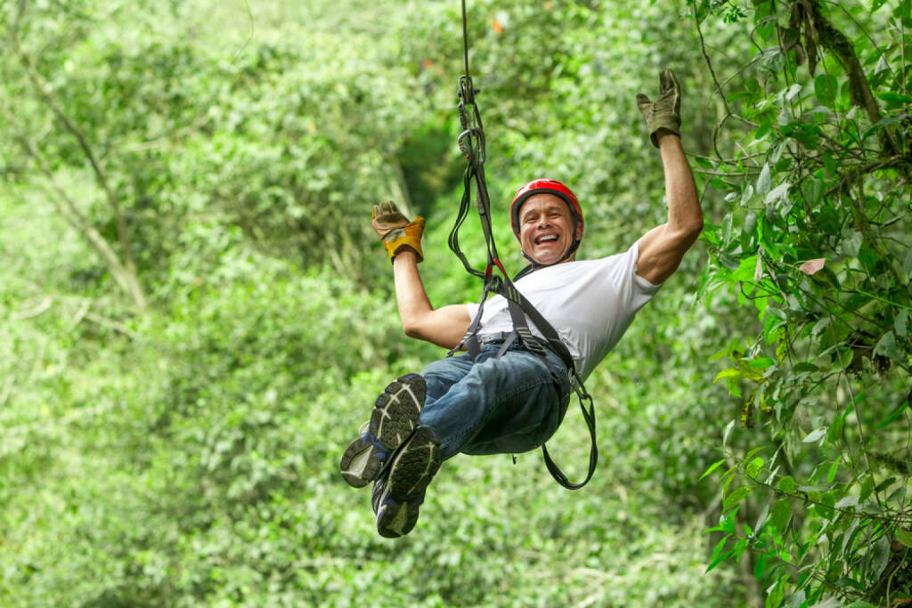 sichern, Seil, klettern, gesichert, Sicherung, abseilen, lachen, Freude, yes, http://www.shutterstock.com/de/pic-182437061/stock-photo-adult-man-on-zip-line-ecuadorian-andes.html , © (www.shutterstock.com) (15.07.2014)