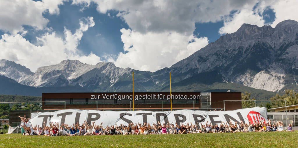 Global 2000: TTIP Stoppen - Bündnis sendet Botschaft zur 6. Verhandlungsrunde nach Brüssel (c) OTS, © Aussender (19.07.2014)