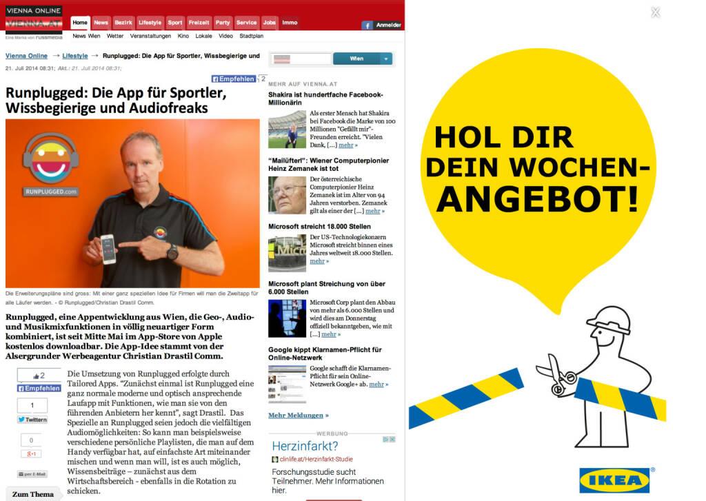 Runplugged auf Vienna Online, siehe http://www.vienna.at/runplugged-die-app-fuer-sportler-wissbegierige-und-audiofreaks/4031721 (21.07.2014)
