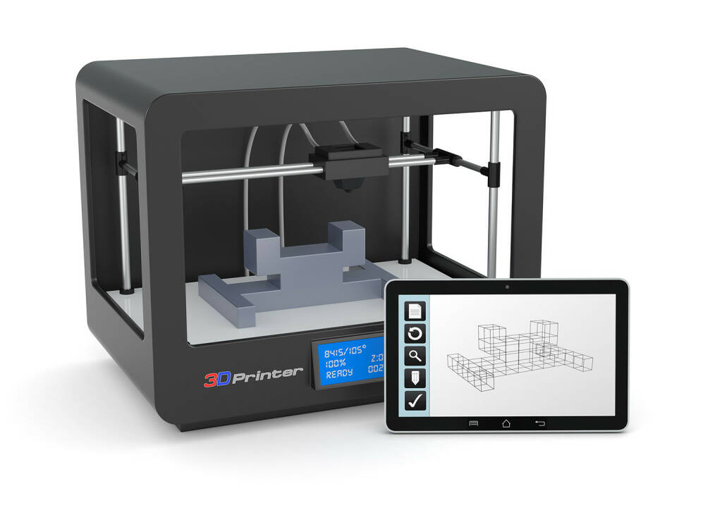 3D Drucker, 3D Technologie, Tablet, CAD Software http://www.shutterstock.com/de/pic-175520168/stock-photo-one-d-printer-with-a-tablet-pc-and-a-cad-software-render.html (26.07.2014)
