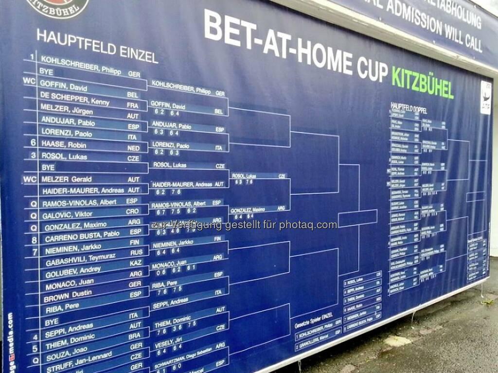 Der aktuelle Turnierraster in Kitzbühel. #betathomeCup  Source: http://facebook.com/betathomecomAustria, © Aussendung (31.07.2014)