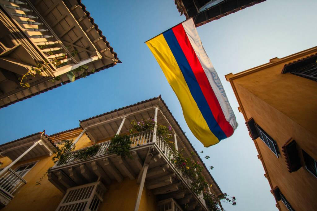 Kolumbien, Bogota, Fahne, Flagge, http://www.shutterstock.com/de/pic-129644270/stock-photo-picture-taken-in-cartagena-colombia.html , © (www.shutterstock.com) (04.08.2014)