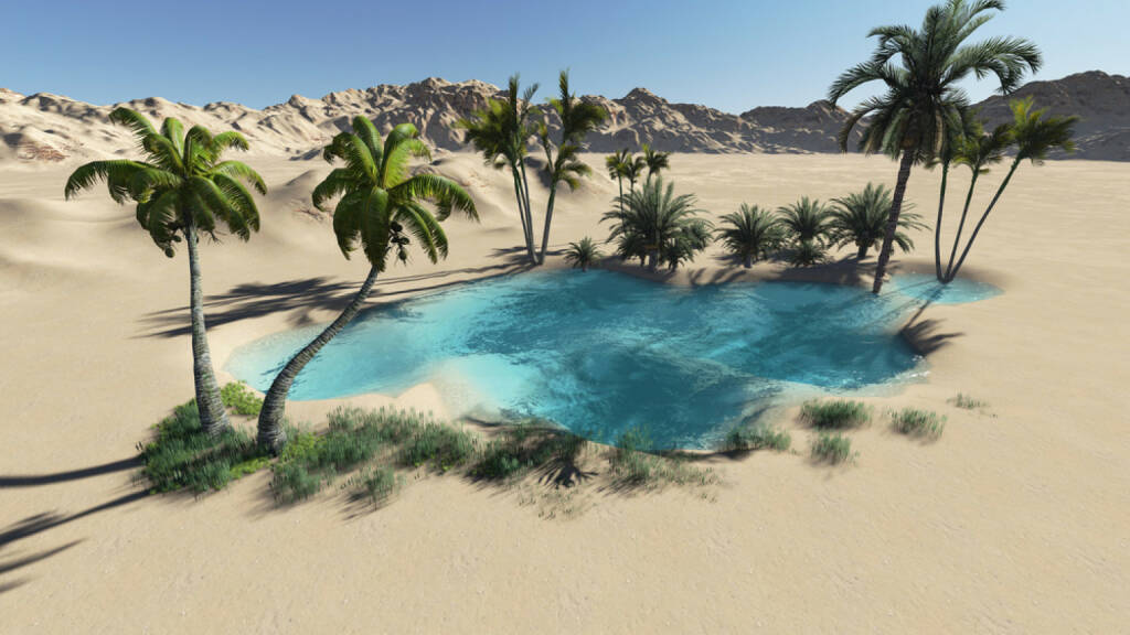 Oase, Wüste, Palmen, Sand, Wasser, Hitze, http://www.shutterstock.com/de/pic-149144414/stock-photo-oasis-in-the-desert-made-in-d-software.html , © www.shutterstock.com (17.01.2018)