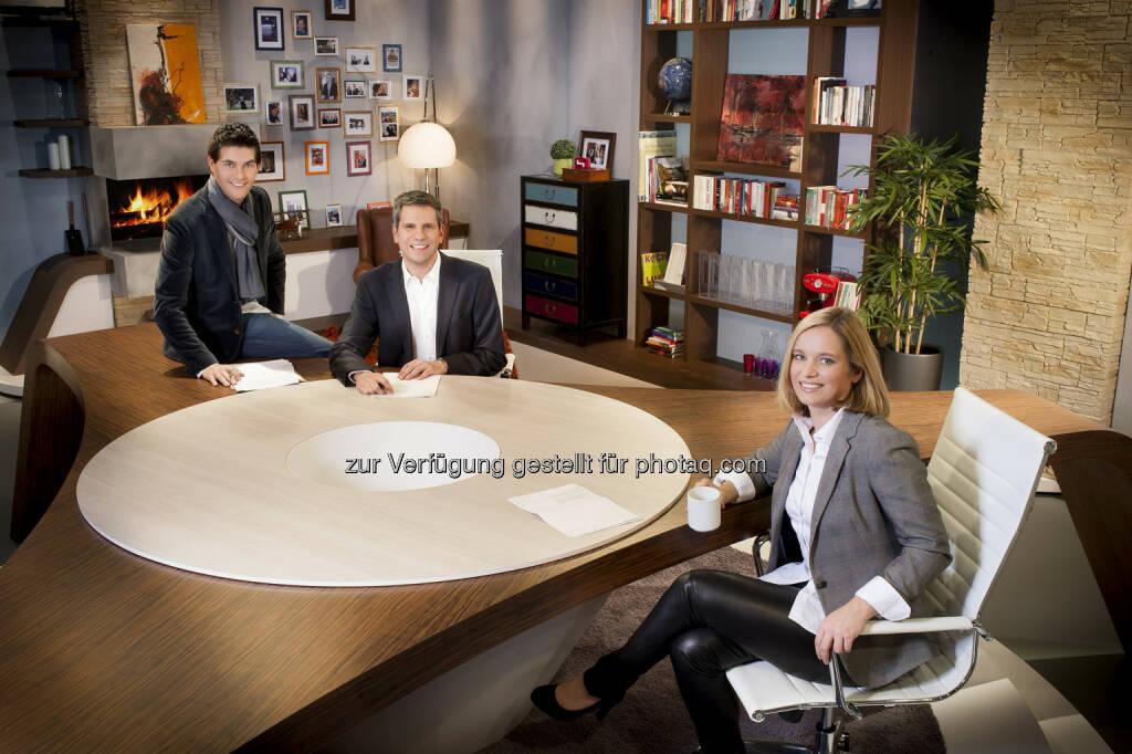 Norbert Oberhauser, Thomas Mohr, Corinna Milborn: Puls 4 startet Guten Abend Österreich (c) Gerry Frank (16.01.2013)