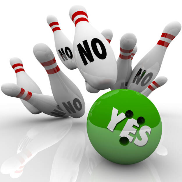 yes, no, ja, nein, kegel, bowling, negativ, positiv, fallen, umfallen, stürzen, http://www.shutterstock.com/de/pic-156089510/stock-photo-the-word-yes-on-a-green-bowling-ball-striking-pins-labeled-no-to-illustrate-overcoming-objections.html, © www.shutterstock.com (17.01.2018)