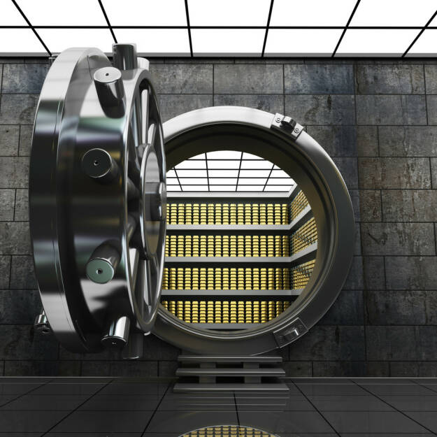 Bank, Safe, Gold, Reserve, Aufbewahrung, Verwahrung, wegsperren, sperren, Sicherheit, gesichert, sicher, schützen, geschützt, Verschluss, unter Verschluss, http://www.shutterstock.com/de/pic-147429296/stock-photo-big-safe-door-with-gold-ingots-high-resolution-d-image.html, © www.shutterstock.com (10.08.2014)