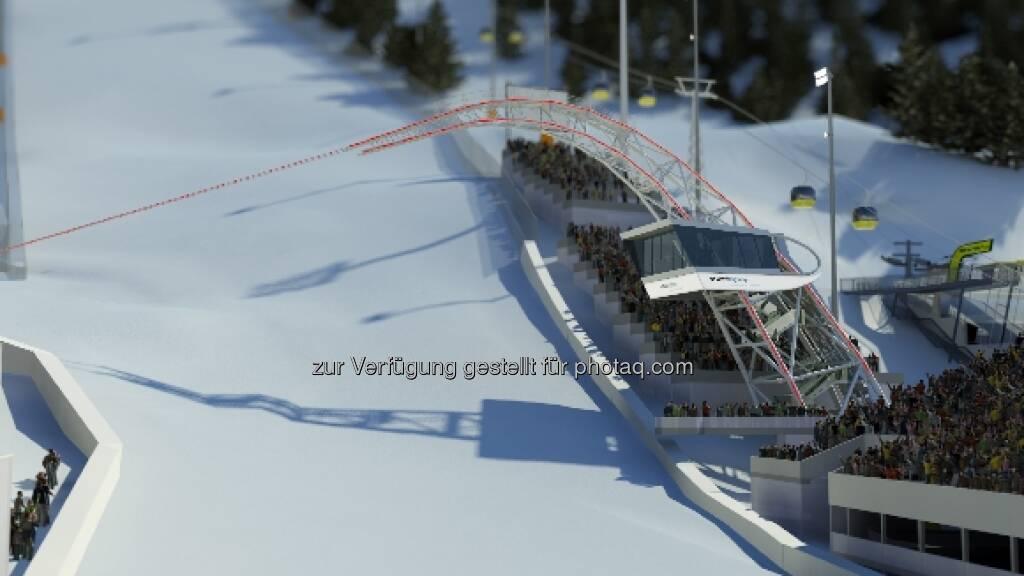 Das voestalpine skygate ist das neue Wahrzeichen von Schladming und damit auch der FIS Alpinen Ski WM 2013. Insgesamt wurden 130 t Stahl für den 35 Meter hohen Bogen verarbeitet (c) voestalpine (18.01.2013)