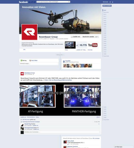 Rosenbauer bietet der Feuerwehr-Community eine Bühne in Facebook & Co http://www.facebook.com/RosenbauerGroup , created by Ambuzzador (c) Aussendung (18.01.2013)