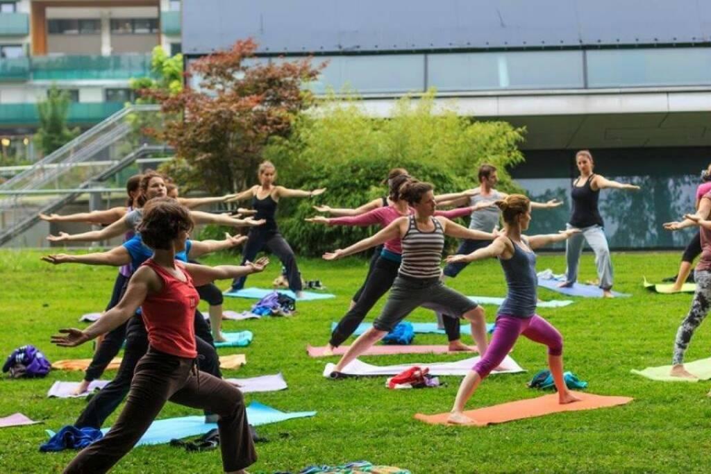 Einblicke in Anusara-Yoga mit Monika Kletzmayr. Yoga-Wiese im Augartenpark Graz (c) Marija Kanizaj, © diverse Handypics mit freundlicher Genehmigung von photaq.com-Freunden (29.08.2014)