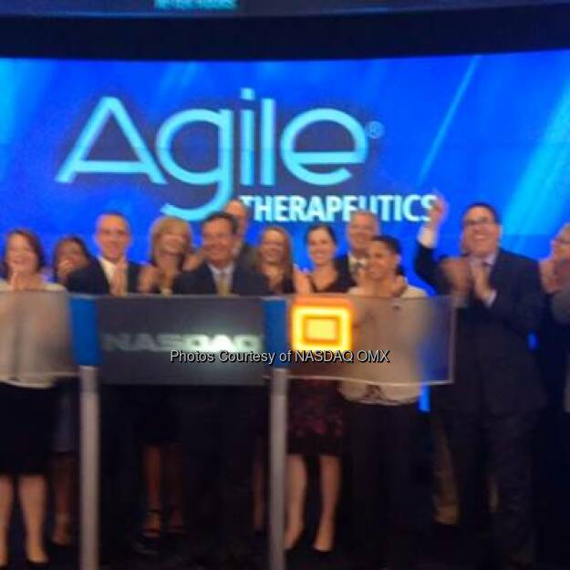 Happy to have #nasdaqlisted Agile Therapeutics with us to ring the #NASDAQ closing bell!  Source: http://facebook.com/NASDAQ (03.09.2014)