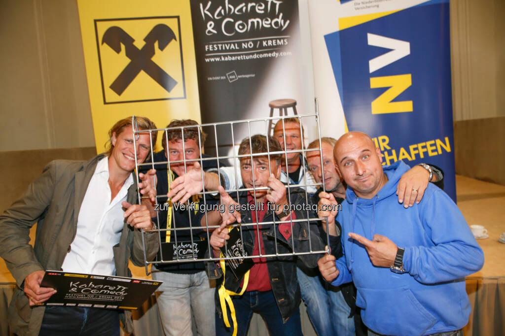 Gery Seidl, Peter Moizi, Günter Mokesch, Fredi Jirkal, Reinhard Nowak und Christoph Fälbl lieferten den Startschuss zum diesjährigen Kabarett & Comedy Festival hinter Gittern (03.09.2014)