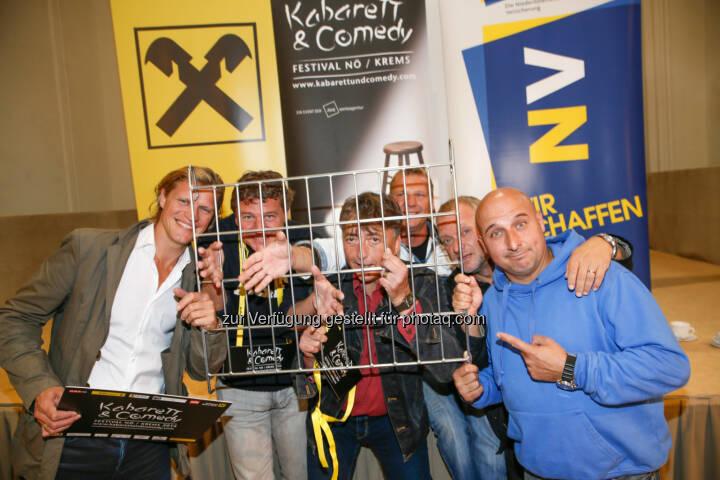 Gery Seidl, Peter Moizi, Günter Mokesch, Fredi Jirkal, Reinhard Nowak und Christoph Fälbl lieferten den Startschuss zum diesjährigen Kabarett & Comedy Festival hinter Gittern
