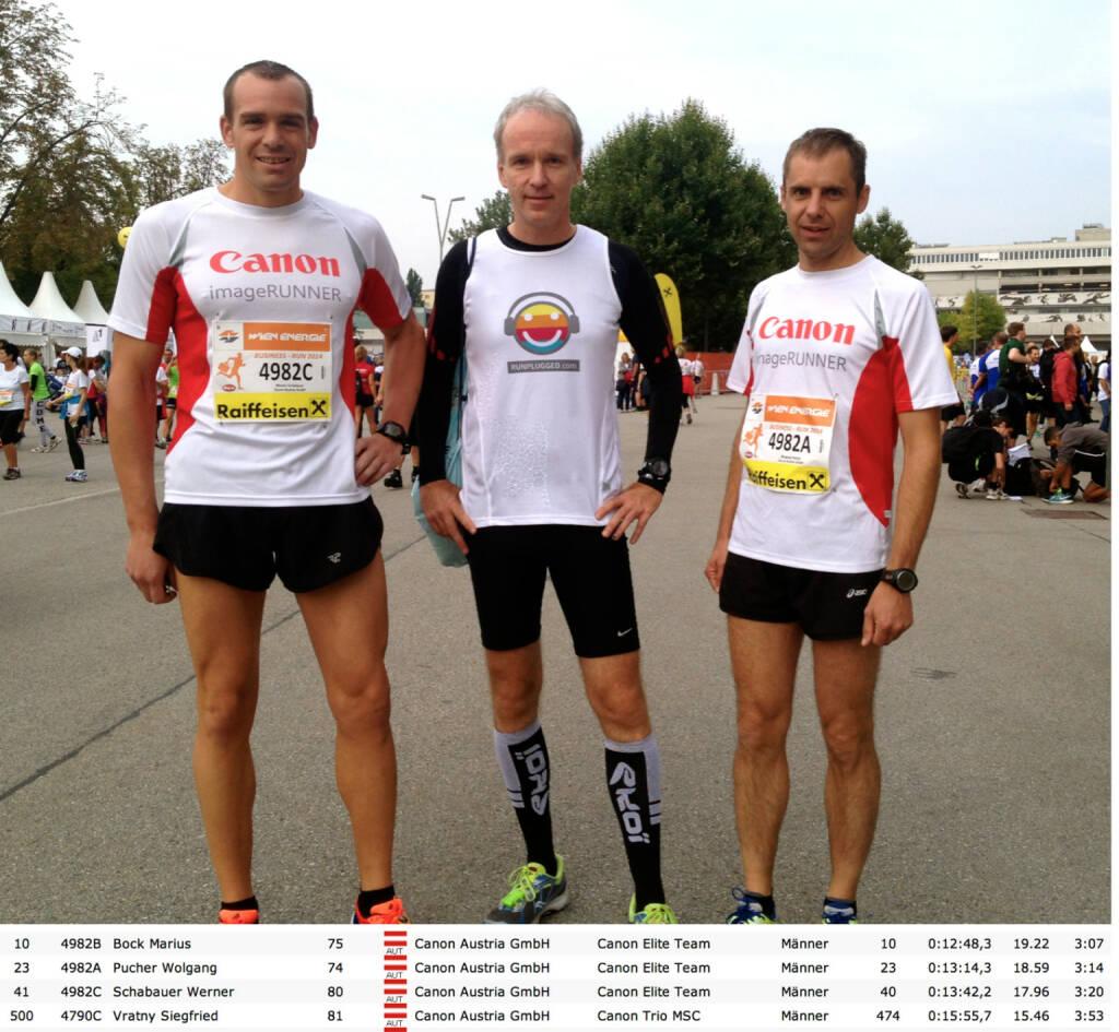 Für Canon beim Business Run: Werner Schabauer, Christian Drastil als Gastläufer, Wolfgang Pucher , © Diverse  (04.09.2014)