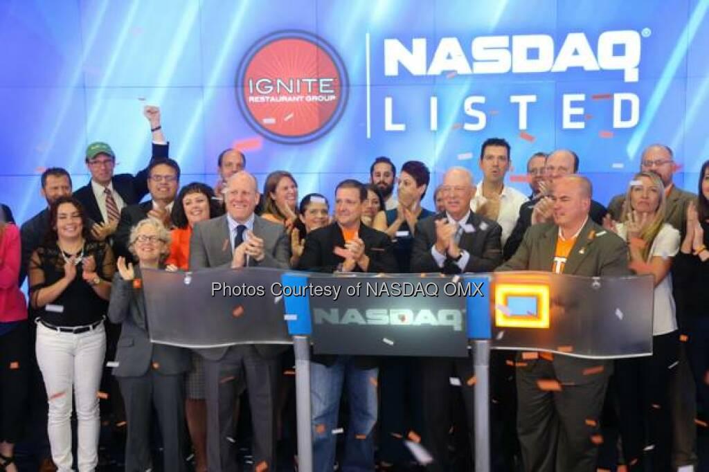 Ignite Restaurant Group, Inc. Rings The NASDAQ Opening Bell Marc Murphy (chef) Chef Amanda Freitag  Source: http://facebook.com/NASDAQ (06.09.2014)