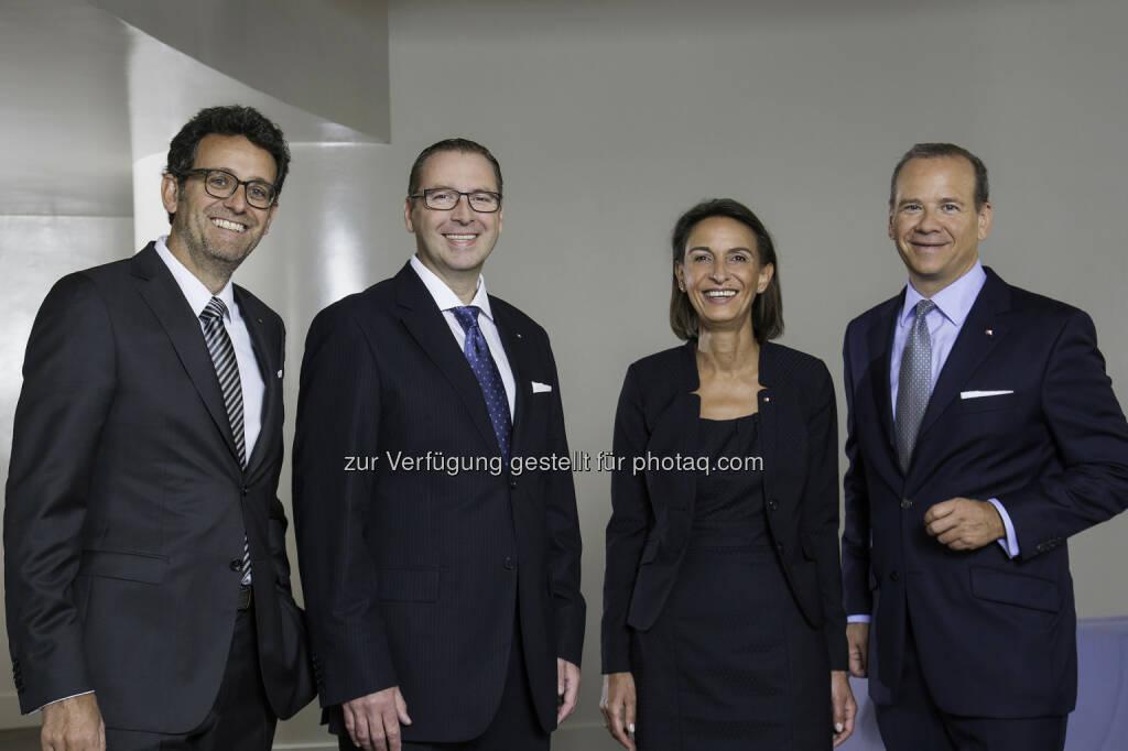 Gerhard Burtscher (BTV Vorstand), Josef Sebesta (BTV Vertriebsleiter Privatkunden Wien), Martina Pagitz (BTV Vertriebsleiterin Firmenkunden Wien) und Peter Gaugg (BTV Vorstandssprecher): 25 Jahre Bank für Tirol und Vorarlberg AG in Wien, © Aussender (08.09.2014)