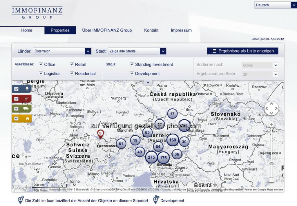 Die Österreich-Übersicht unter http://properties.immofinanz.com/ (c) Immofinanz (23.01.2013)