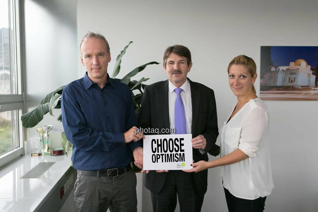 Christian Drastil, Ernst Vejdovszky (S Immo), Elisabeth Wagerer (S Immo), Choose Optimism, © photaq/Martina Draper (09.09.2014)