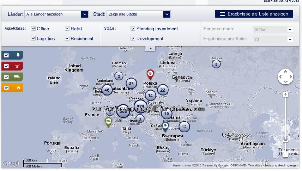 Die Immofinanz-Europa-Portfolio unter http://properties.immofinanz.com/ (c) Immofinanz (23.01.2013)