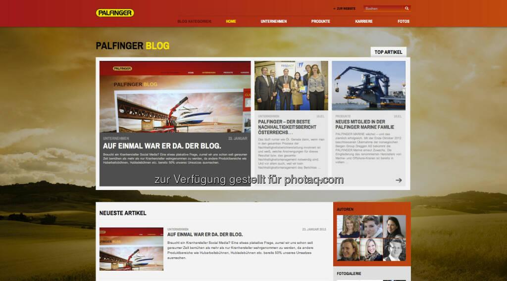 http://blog.palfinger.ag/ - ein weiteres ATXPrime-Unternehmen setzt auf Corporate Blogs, in optisch und inhaltlich äusserst ansprechender Form (24.01.2013)