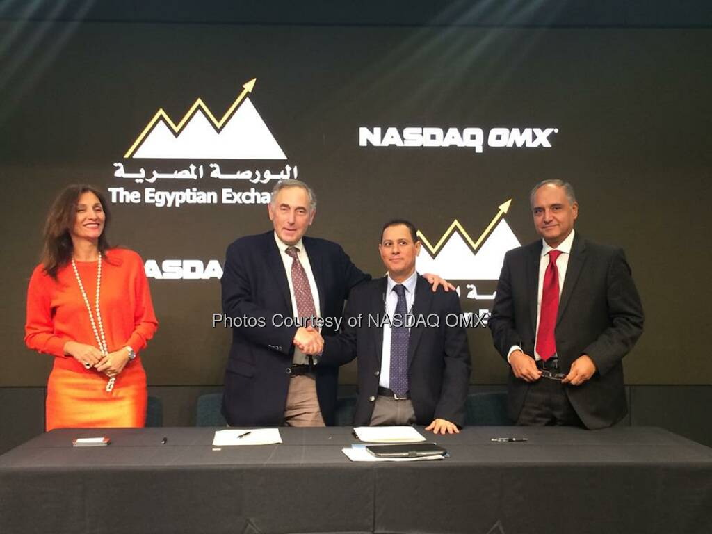 Egyptian Exchange & @NASDAQ sign agreement to extend contract for X-stream trading tech. EGX, a customer since 1999!  Source: http://facebook.com/NASDAQ (13.09.2014)