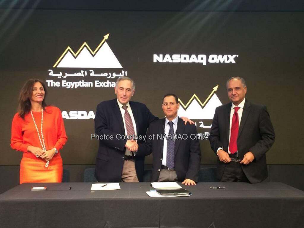 Egyptian Exchange & @NASDAQ sign agreement to extend contract for X-stream trading tech. EGX, a customer since 1999!  Source: http://facebook.com/NASDAQ (13.09.2014)