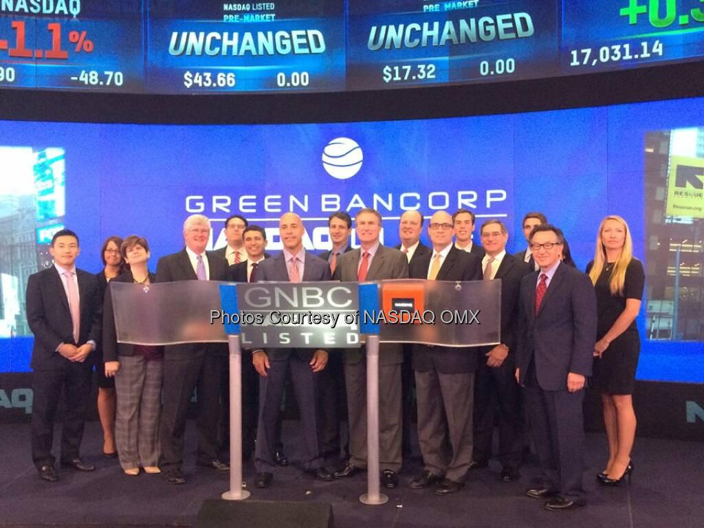 Green Bancorp, Inc. rings the #NASDAQ Opening Bell $GNBC  Source: http://facebook.com/NASDAQ (16.09.2014)