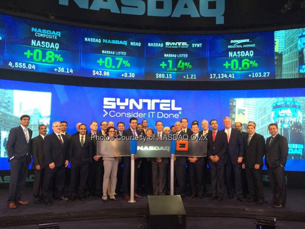 Syntel, Inc. rings the #NASDAQ Closing Bell! $SYNT #dreamBIG @SYNTEL @nasdaqmccooey  Source: http://facebook.com/NASDAQ (17.09.2014)