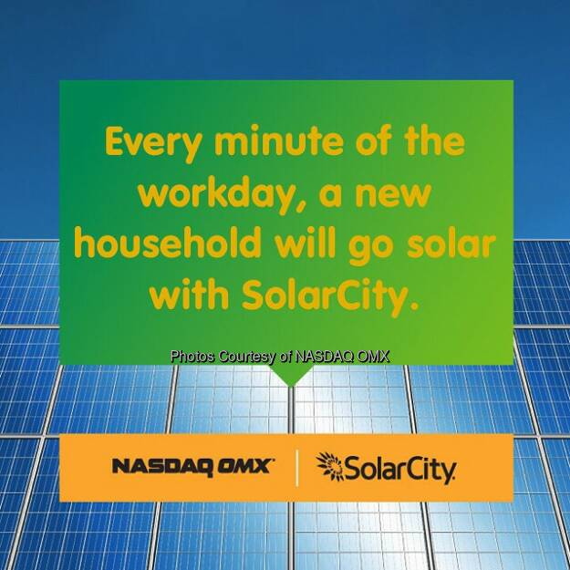 #SolarFacts from @SolarCity at #InsideEnergy #sustainability #renewables  Source: http://facebook.com/NASDAQ, © Aussender (18.09.2014)
