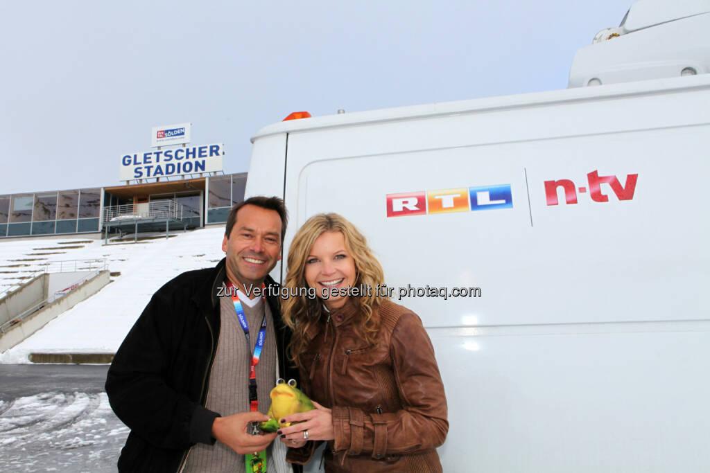 Christian Häckl und Eva Imhof (RTL) - TV-Wetterstars pilgern nach Sölden/Tirol zum Internationalen Wettergipfel (Bild: Philipp Jochum/pro.media), © Aussender (23.09.2014)
