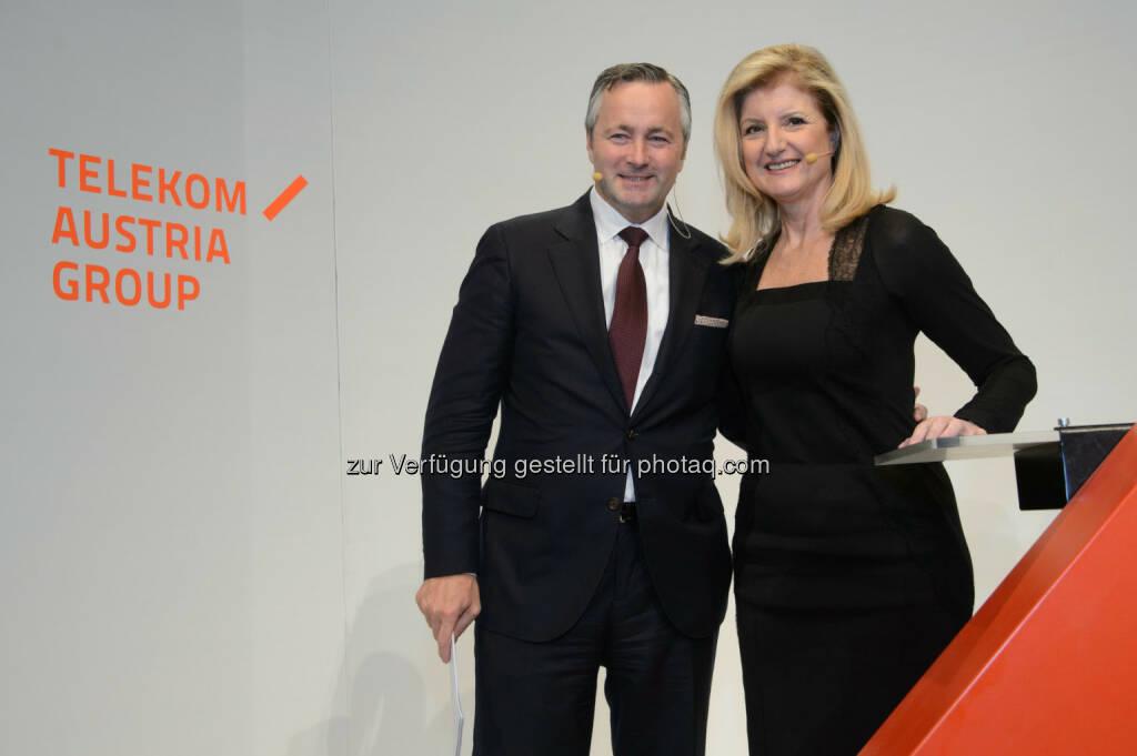 """Hannes Ametsreiter (Generaldirektor Telekom Austria Group, A1) und Arianna Huffington (""""The Huffington Post""""), © Telekom Austria Group / Rainer Eckharter (24.09.2014)"""