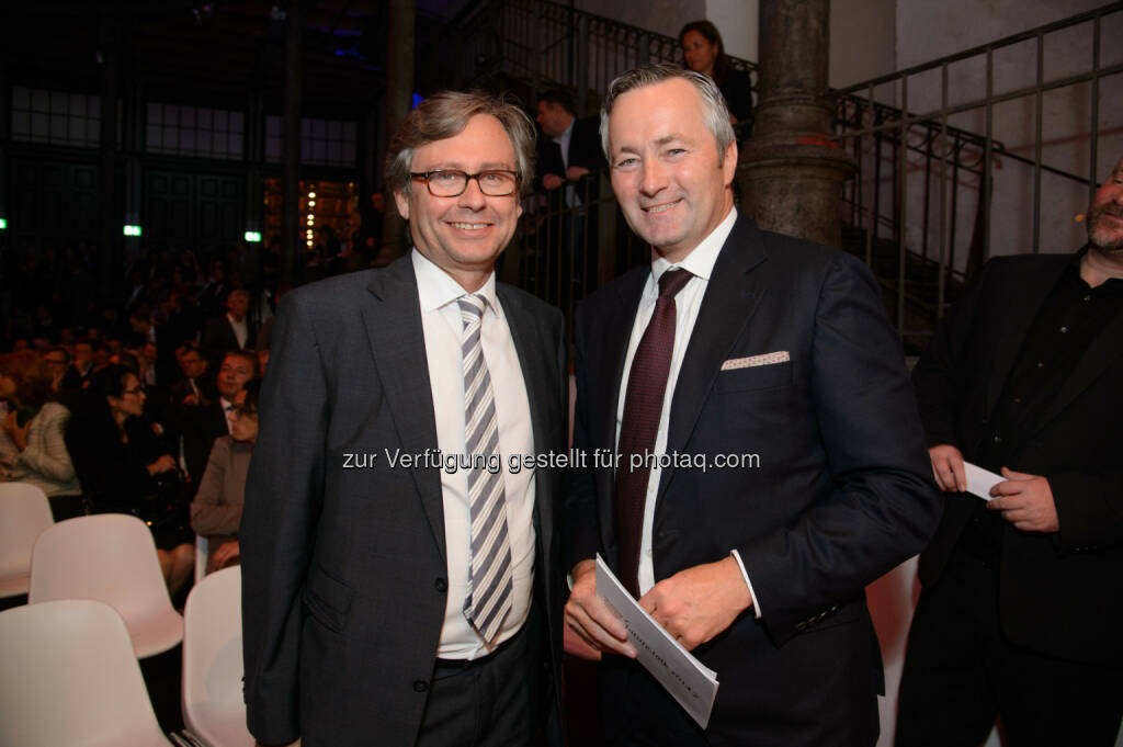 Alexander Wrabetz (ORF General), Hannes Ametsreiter (Generaldirektor Telekom Austria Group, A1), © Telekom Austria Group / Rainer Eckharter (24.09.2014)