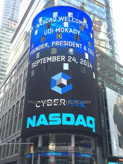 We are so proud to have @CyberArk here with us today to celebrate their #IPO on #NASDAQ! #dreamBIG $CYBR.  Source: http://facebook.com/NASDAQ (25.09.2014)
