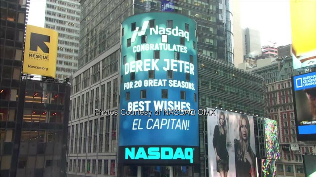 Watch our video which highlights a career filled with milestones. NASDAQ congratulates Derek Jeter for 20 great seasons with New York Yankees! #RE2PECT  Source: http://facebook.com/NASDAQ (26.09.2014)