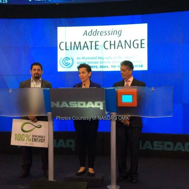 Christiana Figueres speaks about Climate Change before the #NASDAQ Opening Bell! @CFigueres @UNClimateBook #AddressClimateChange #climateweek  Source: http://facebook.com/NASDAQ (26.09.2014)