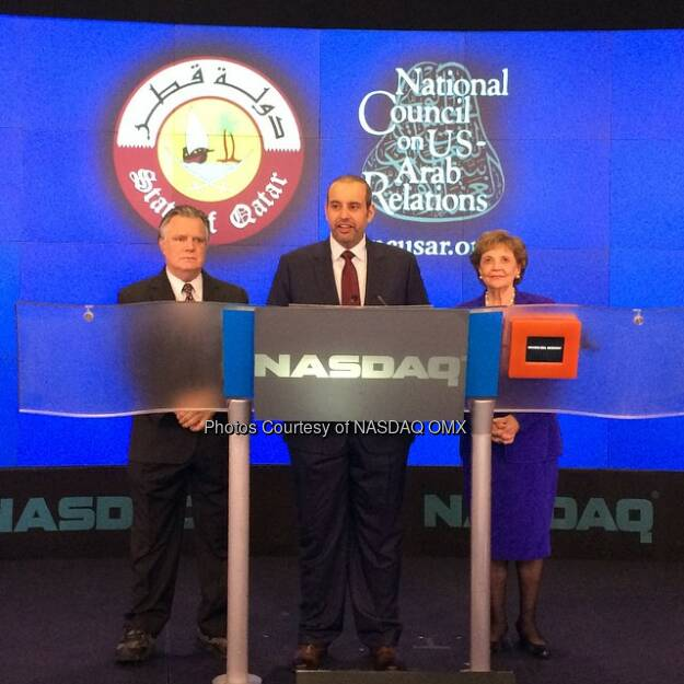 His Excellency Sheikh Ahmed bin Jassim Al Thani, the Qatar Minister of Economy & Commerce, and Mrs. Matilda Cuomo ring the #openingbell!  Source: http://facebook.com/NASDAQ (26.09.2014)