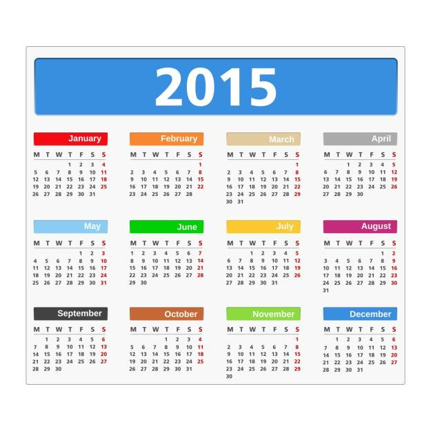 Wandkalender, Kalender, Jahresplaner, Planung, Datum, http://www.shutterstock.com/de/pic-208757101/stock-vector--calendar-on-white-background-vector-ps-illustration.html, © www.shutterstock.com (17.01.2018)
