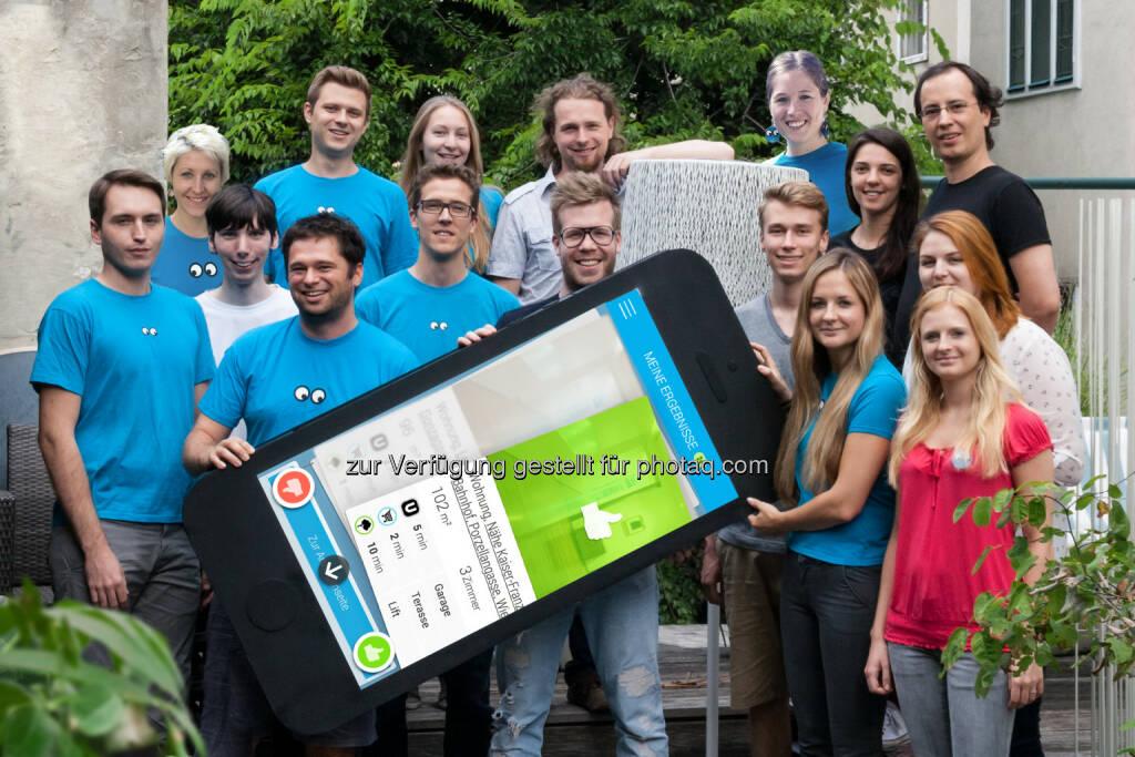 Wiener Wohnungssuche-Startup zoomsquare erhält knapp siebenstelliges Investment. Sowohl das Austria Wirtschaftsservice (AWS) als auch die Forschungs Förderungsgesellschaft (FFG) heben private Eigenmittel auf eine knapp siebenstellige Summe. - Teamfoto zoomsquare (Bild: zoomsquare) (07.10.2014)