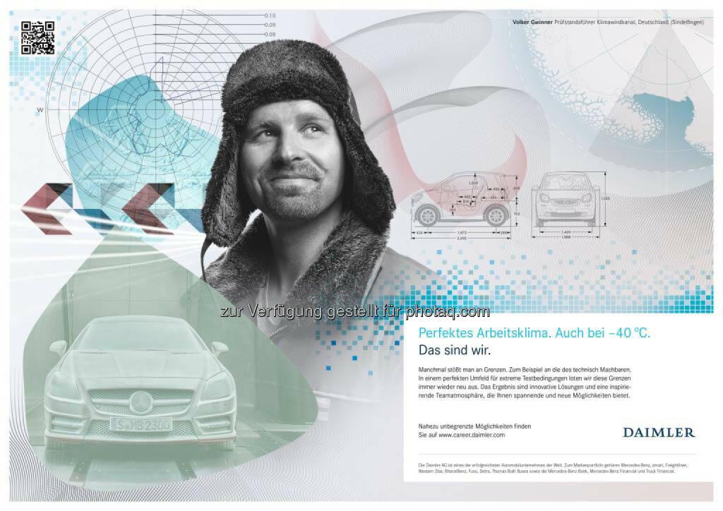 """""""Das sind wir"""": Daimler startet neue Arbeitgeberkampagne: Volker Gwinner, Prüfstandsführer aus Sindelfingen, ist einer von über 20 Mitarbeitern aus unterschiedlichen Fachbereichen, die Daimler ein Gesicht nach außen geben., © Aussender (08.10.2014)"""