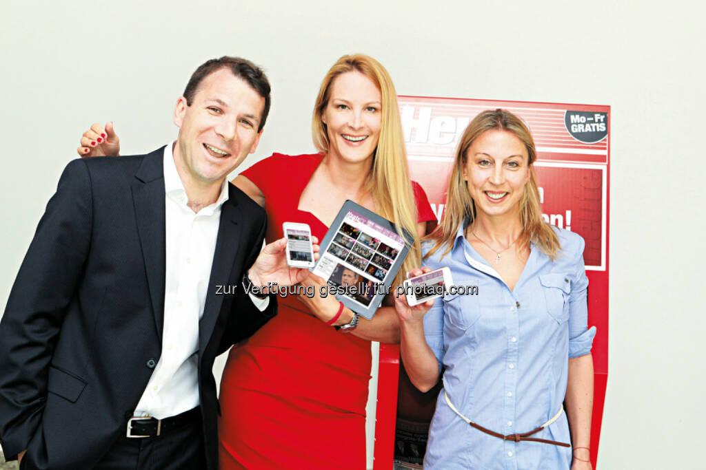 Christof Hinterplattner, Eva Dichand und Maria Jelenko: Ahvv Verlags GmbH: ÖWA Plus 2014 -II: Heute.at steigert sich innerhalb eines Jahres um 71 % und ist somit das am stärksten wachsende Angebot, © Aussender (09.10.2014)