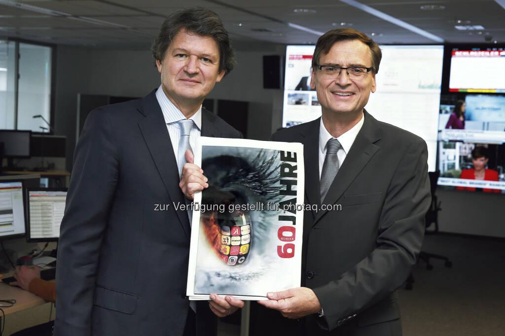 Herausgeber Helmut Brandstätter und Geschäftsführer Thomas Kralinger: Kurier feiert 60-jähriges Jubiläum, © Aussender (11.10.2014)