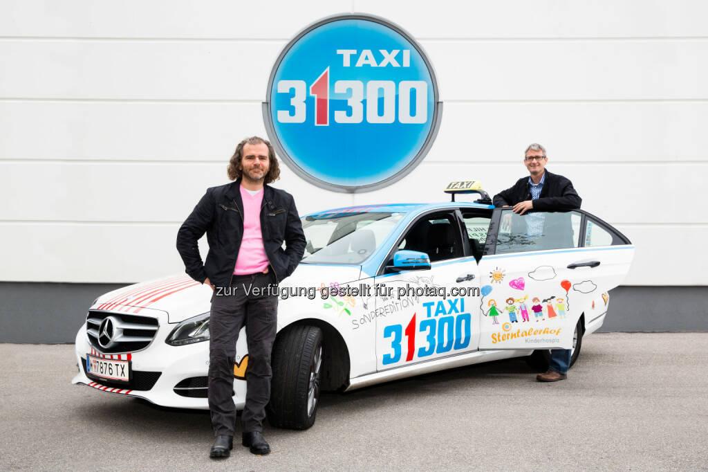Taxi 31300 Geschäftsführer Nikolaus Norman, Sterntalerhof Geschäftsführer Harald Jankovits: : Taxi 31300 Shooting Sterntaler Projekt, © Aussender (13.10.2014)