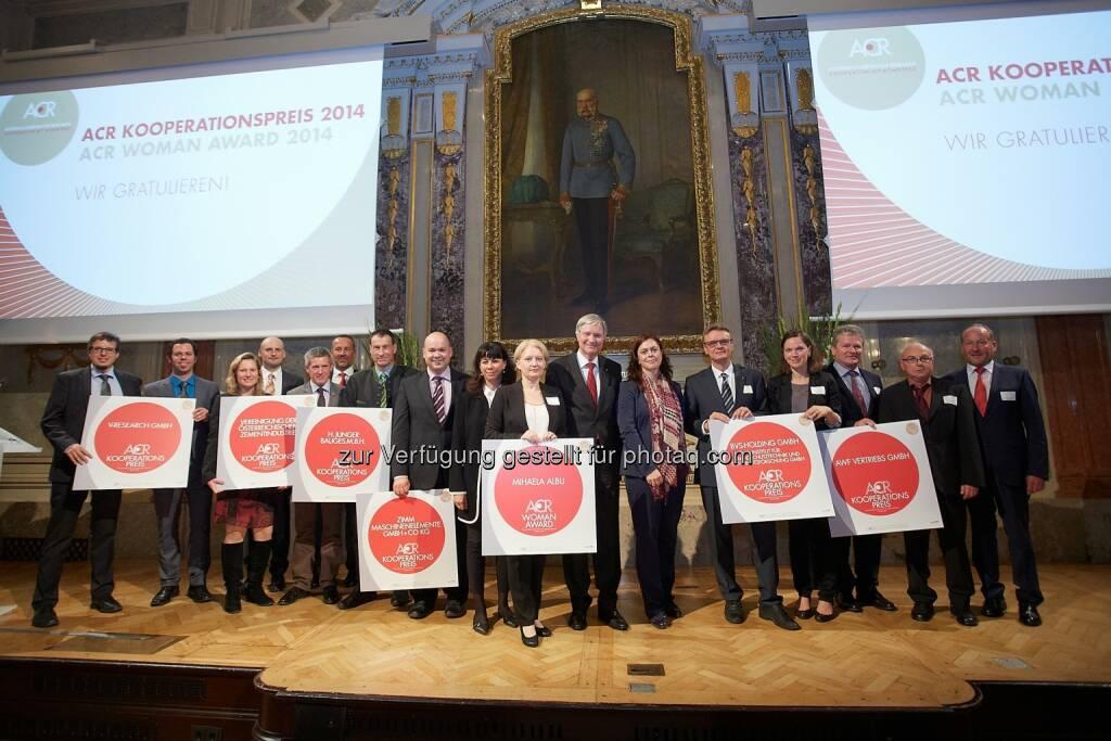 ACR Austrian Cooperative Research: ACR Kooperationspreis 2014: Leistungsschau der innovativen KMU, im Bild: Gewinnerinnen und Gewinner der ACR Preise 2014, © Aussendung (14.10.2014)
