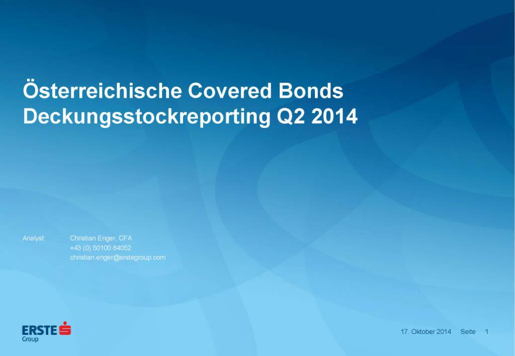 Österreichische Covered Bonds Deckungsstockreporting Q2 2014, © Erste Group Research (17.10.2014)