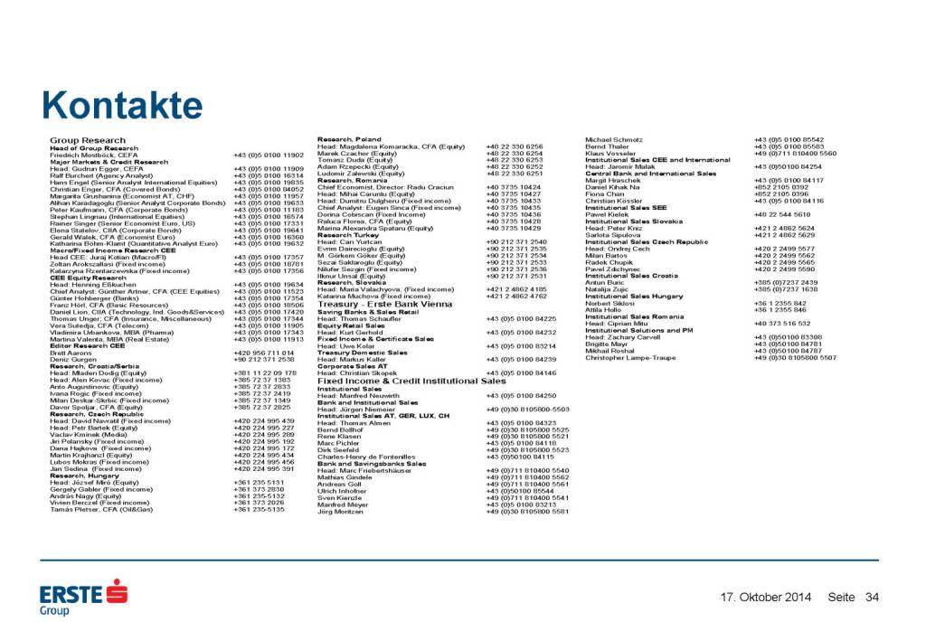 Kontakte, © Erste Group Research (17.10.2014)