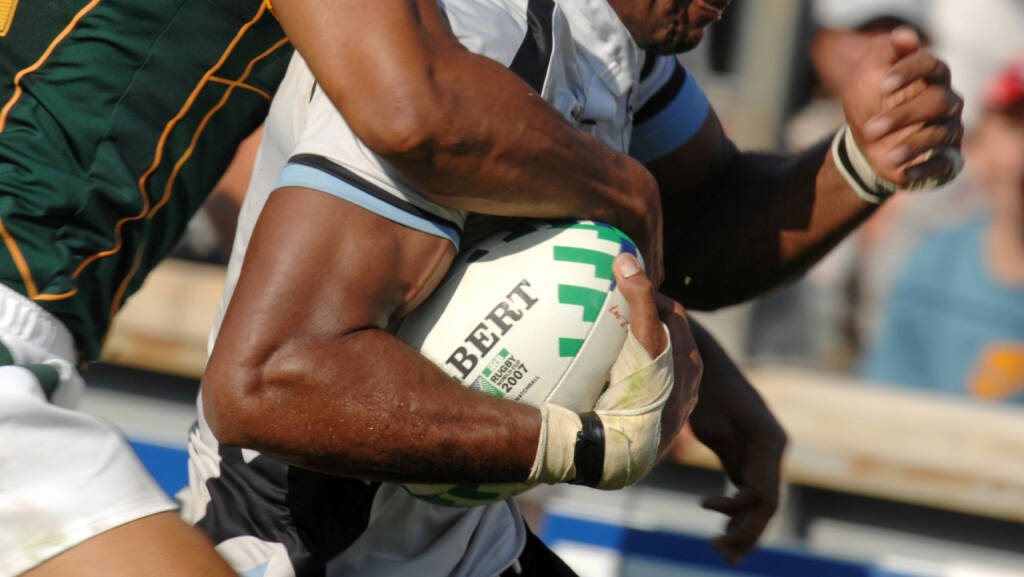 Verteidigung, defensiv, Fiji vs South Africa, Rugby World Cup  <a href=http://www.shutterstock.com/gallery-1633145p1.html?cr=00&pl=edit-00>Paolo Bona</a> / <a href=http://www.shutterstock.com/editorial?cr=00&pl=edit-00>Shutterstock.com</a>, © www.shutterstock.com (20.11.2017)