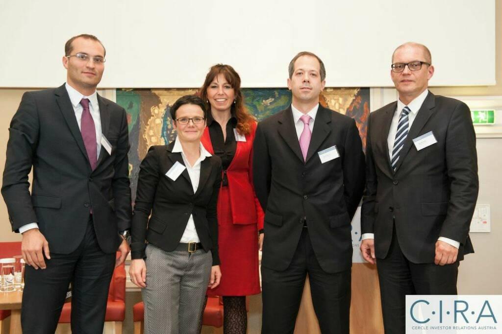 Johannes Hämmerle (RCB), Gerda Königstorfer (Rosenbauer), Silke Schlünsen (CBSB), Ronald Nemec (Erste Bank), Karl Brauneis (Wiener Börse), © C.I.R.A. (21.10.2014)