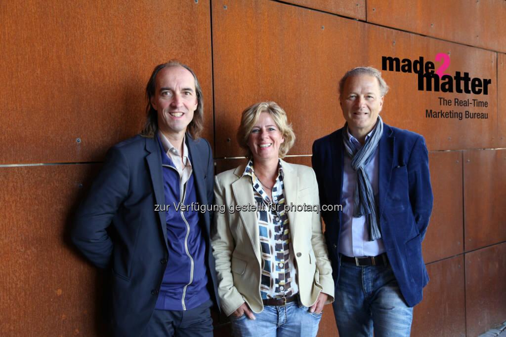 Thomas Schmid, Grace Pardy und Peter Gheneff: made2matter: Erstes Real-Time Marketing Bureau Österreichs gegründet, © Aussender (24.10.2014)